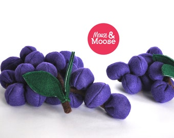 Eco Friendly 100% Wool felt pretend Grapes for play kitchens, play food made with wool felt , felt grapes for pretend play, accessory