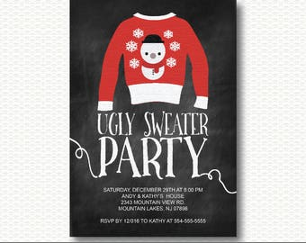 Ugly Sweater Invitation, Holiday Party, Tacky Sweater, Christmas, Party, chalkboard, Typography, Invite, Printable, Unique, Modern, CP113