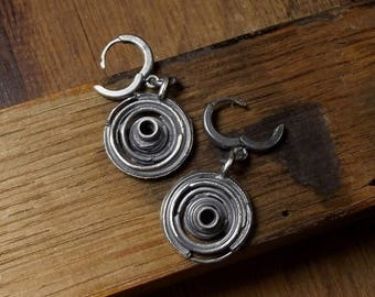 Raw sterling silver Oxidized Sterling silver earrings Handmade Gift for her
