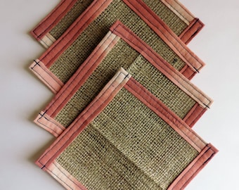 Burlap Coasters - Fabric coaster - Drink Coaster - Up cycled - Housewarming Gift- Hostess Gift - Teacher Gift - Gift Under 25