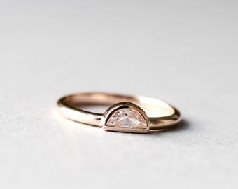 14k Rose Gold Half Moon Ring, 925 Sterling Silver, Rose Gold Ring, Roseandchoc Ring, Stacking Ring, Dainty Ring, Minimalist Ring