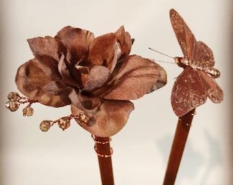 Butterfly Hair Chopsticks - Flower Hair Sticks - Rose Gold Bridal Hair Piece - Rustic Hair Sticks - Bridal Hair Sticks - Wedding Hair Sticks