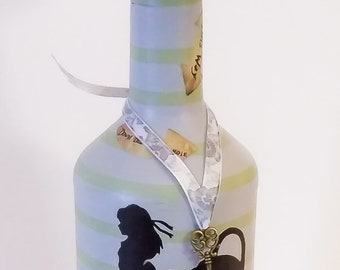 "Alice in Wonderland ""We're all mad here"" altered wine bottle"
