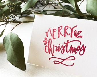 Merry Christmas stamp - calligraphy stamp - holiday stamp - ready to ship - Christmas calligraphy - gift tag - stationery stamp - K0067