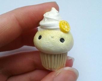 Polymer clay kawaii Lemon pie cupcake