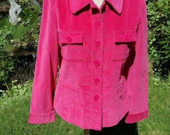 Hot Pink Stretch Velvet Jacket Blazer by Talbots With Buttoned Patch Pockets Size 12