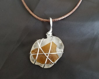 Clear and brown sea glass with silver