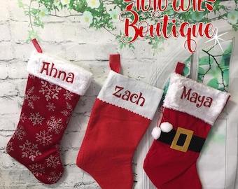 Santa stocking, christmas stocking, family stocking, personalized stocking, personalized family stockings, snowflake stocking, christmas