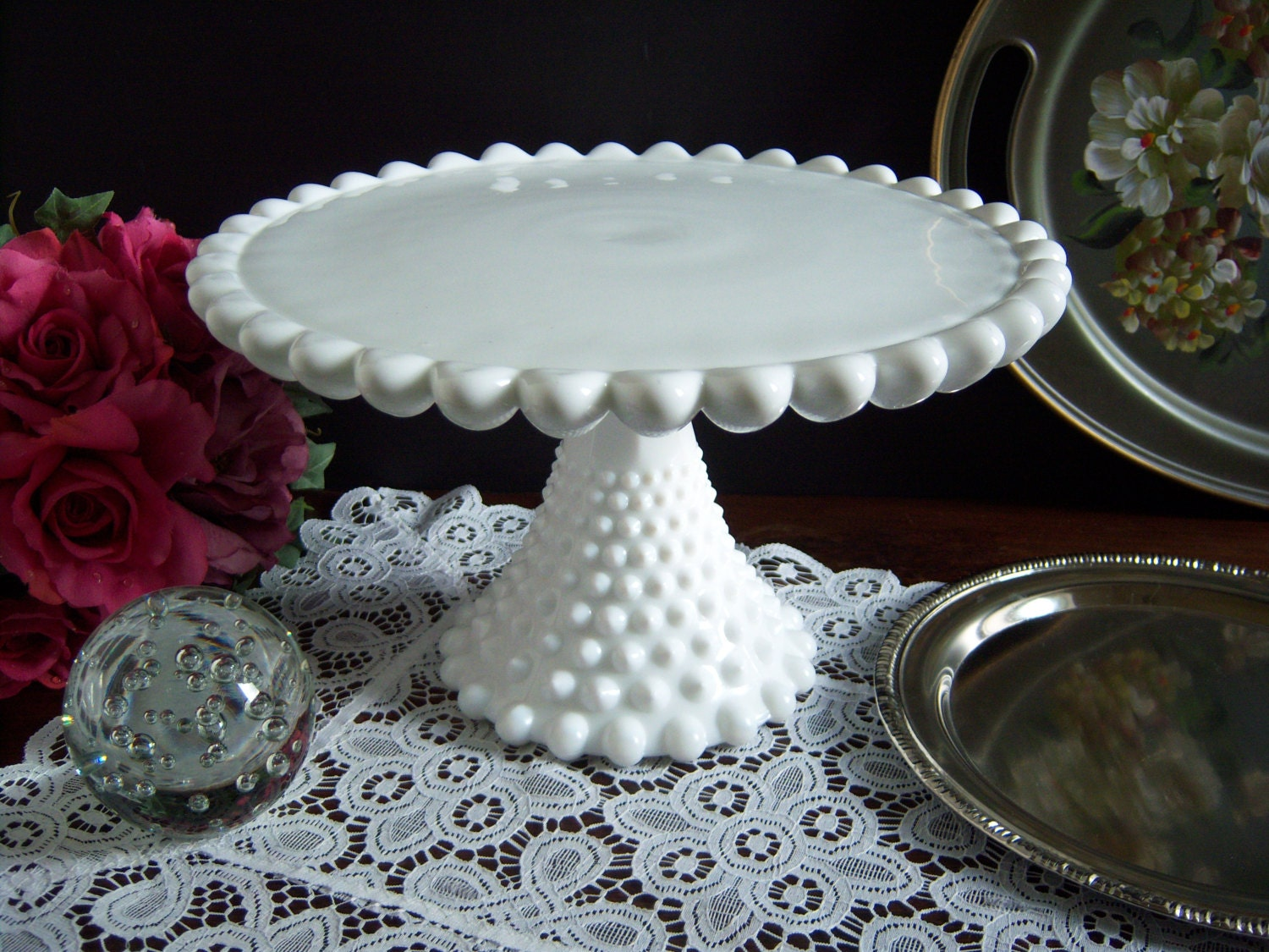 🔎zoom & Hobnail Milk Glass Cake Stand Duncan and Miller Old