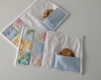 """QUILTED MUG RUGS, Vintage Linens, 6 1/2"""" x 10 1/2"""", Set of 2, Cookie Pocket, Scrappy, Large Coaster, Small Placemat, Ready To Ship, Handmade"""