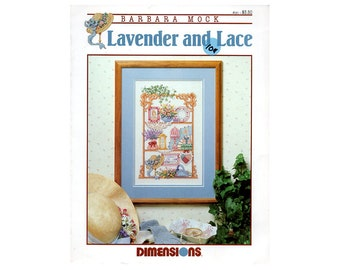 Lavender and Lace Cross Stitch Leaflet, Floral Cross Stitch, Dimensions Cross Stitch Leaflet, Flowers Cross Stitch, NewYorkTreasures Etsy