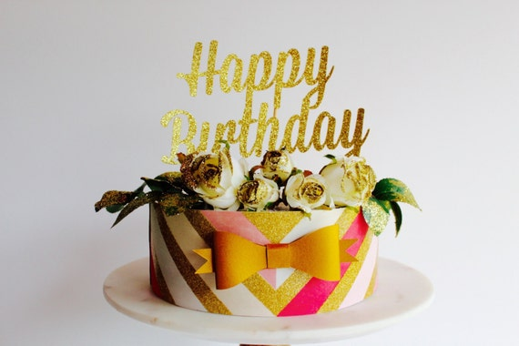 happy birthday cake topper gold fancy cake topper1st