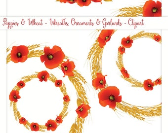 Red Poppies and Wheat - Wreaths and Garlands - Clipart - Digital Collage, PNG, Instant Download