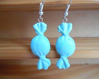 Blue polymer pierced earrings