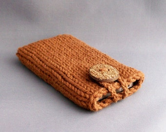 Cell Phone Cover, iPod Touch Cozy Sleeve Copper  Cinnamon Clove Coconut Button Crochet Loop Gadget Case Gift under 25