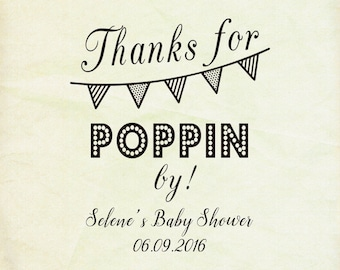 Thanks For Popping By  Baby Shower Thanks For Poppin By  Bunting Thank You  Baby