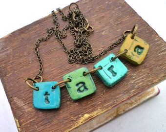 Fiesta Necklace - Name necklace on little tiles - Greens