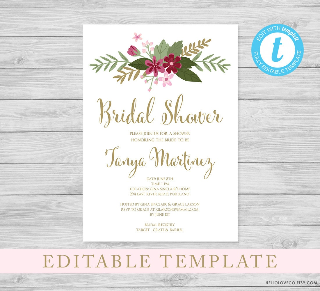 EDITABLE Bridal Shower Invitation Template Bridal Brunch