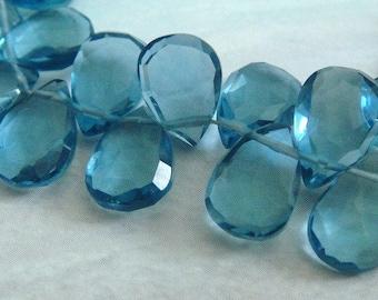 3 MATCHED PAIRS, London Blue Quartz Pear Faceted Briolette Beads, 9-10MM,  Wholesale Beads, Brides, 6 pcs  Gorgeous Color