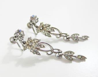 1940s vintage art deco rhinestone evening dangle drop silver screw back earrings