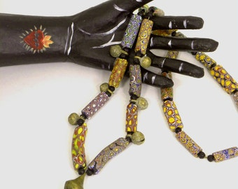 African Tribal Trade Beads Necklace, Millefiore beads, Lost Wax Cast Bronze Bell Beads