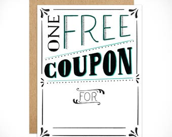 Coupon Card. Gift. Gift card. Birthday Card.All Occasion. 1pc