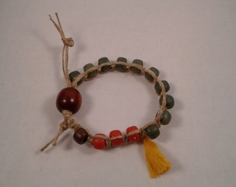Adjustable Hemp Macrame Meditation Bracelet