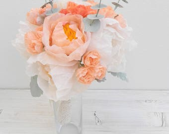 Salmon Red Paper Flower Bouquet with Peonies, Roses and Eucalyptus, Paper Peonies, Peony Bouquet, Wedding Bouquet