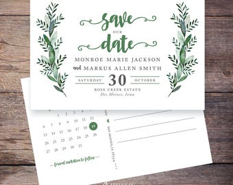 Save the Date, Garden Wedding, Greenery, Postcard, Foliage, Save-the-Date Card, DIY, Printable Digital File – Monroe