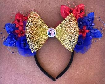 Disney Snow White Floral Minnie Mouse Ears