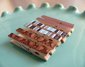 Decorative Decoupaged Clothespins Memo clips--Bernadette  Gifts Under 5 Dollars Hostess Gift, Organization, Home Office, Kitchen, Chip Clip