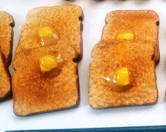 1:3 Scale Buttered Toast Miniature 4 pieces Food American girl Doll  Food  1 4 scale Bread Bjd Doll Food BJD props AG Doll