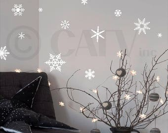 Vinyl Snowflake Decals set of 30 small snowflakes - vinyl lettering wall decal stickers Christmas Winter