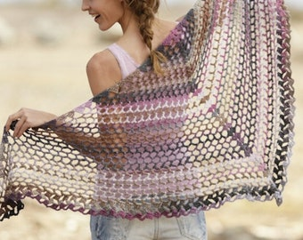 Handmade crochet summer light shawl in 100% soft wool with lace - one size