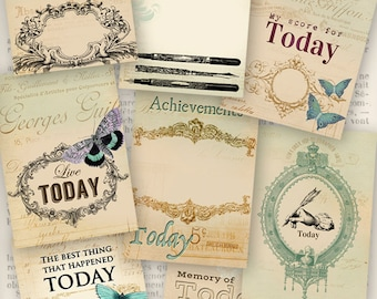 """Journal Cards """"Today"""" printable journaling craft art hobby crafting scrapbooking instant download digital collage sheet - VDJCRE1032"""