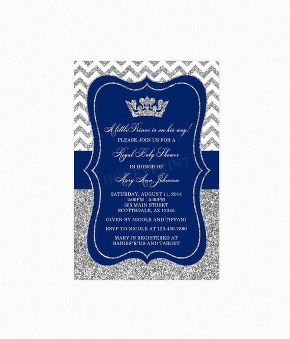 shower invitations baby ba little prince pixels royal x