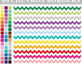 48 Digital Rainbow Chevron Borders Clip Art ,