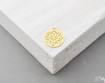 925 Sterling Silver Mandala gold plated, Mandala Pendant, Mandala Charm, Silver Mandala, Small Mandala, jewelery making, jewelery, mandala