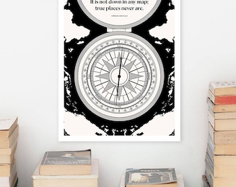 HERMAN MELVILLE Literary Art Prints, Travel Quote Minimalist Poster, Large Wall Art Print Illustration, Bookish Gift for Dad, Boyfriend Gift