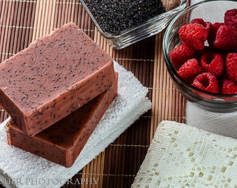 Poppy Seed Soap, Exfoliating Soap, Facial Exfoliator, Fruity Red Raspberry