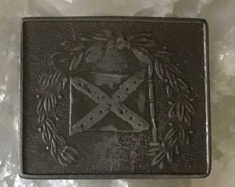 Indiana metal craft belt buckle bloomington vintage accessory