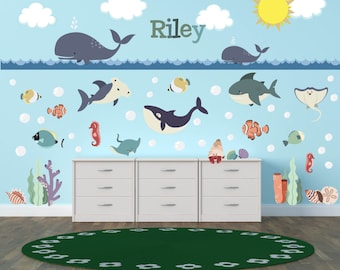 Ocean Wall Decals, Ocean Theme Nursery Decor, Ocean Theme Kids Room, Whale Wall  Decor, Kids Room Wall Decals, Nursery Wall Decals