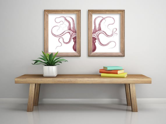 Cherry red Octopus in two parts, A3 size poster, octopus art, Wall art, Octopus Giclee poster, Ocean Animal art, Sea life poster SEA221WA3