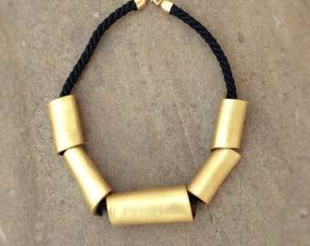 Woman Statement necklace - gold - hand crafted - metal effect - bicolor - polymer clay