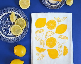 Lemon Kitchen Towel, Mother's Day Gift, Lemons, Flour Sack Tea Towel, dish towel, Hostess gift, gifts under 15, gifts under 20, gift for her