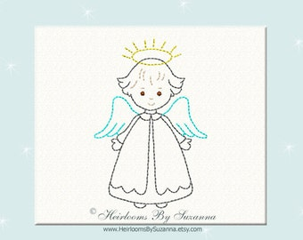 Sweet Vintage Angel - Machine Redwork Embroidery - Colorwork - Bluework - Christmas Design - 3 Sizes