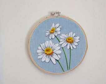 Hand Embroidered Daisies