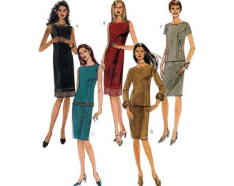 Sheath Dress or Bateau Neck Top and Skirt, Women's Sewing Pattern Misses/ Petite Size 8, 10, 12 Uncut McCall's 2972
