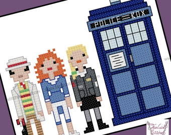 Doctor Who themed Seventh Doctor and Companions cross stitch pattern - PDF pattern - INSTANT DOWNLOAD