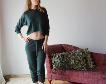 cropped wool hoody in double knit fine stretch jersey - ready to ship - size Small - Color Shale